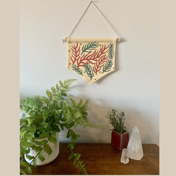 🧡Hand Painted Wall Hanging //Green + Red Branches